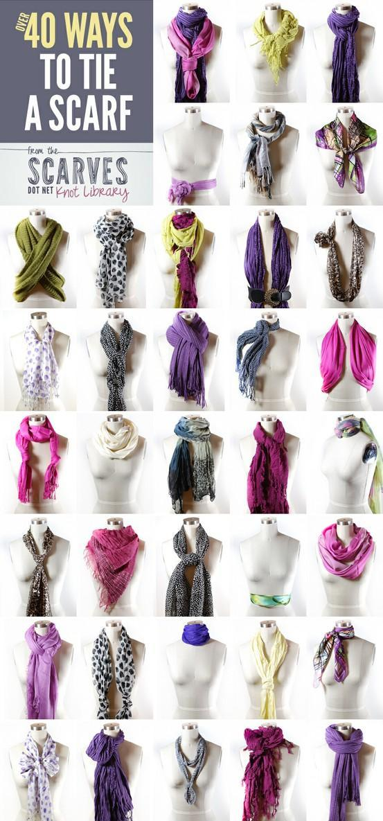 способы завязывания шарфа на пальто