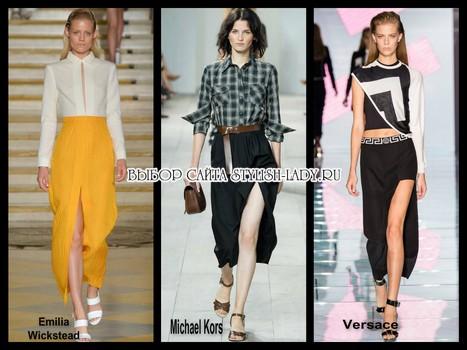 модные юбки с разрезом 2015