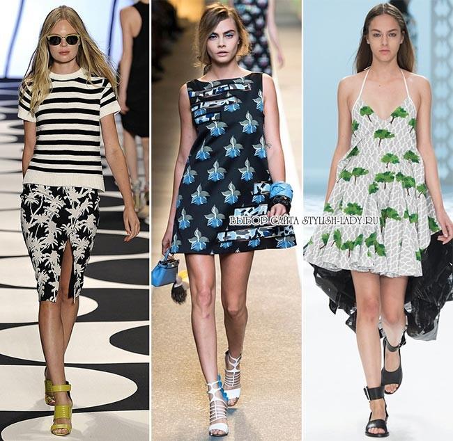 модные принты весна - лето 2015: цветы и листья, фото