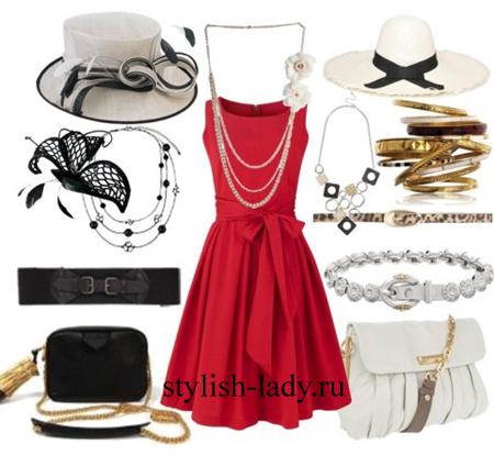 С чем одеть красное платье красное
