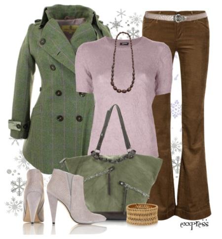 Сочетание зеленой куртки и джинсы раз белья джинсы
