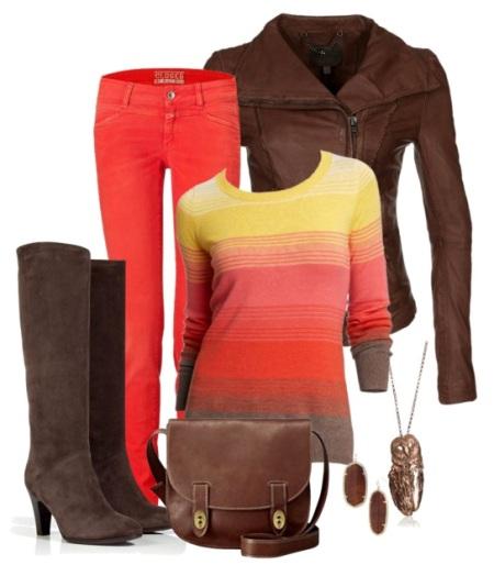 Красные джинсы: с чем носить?