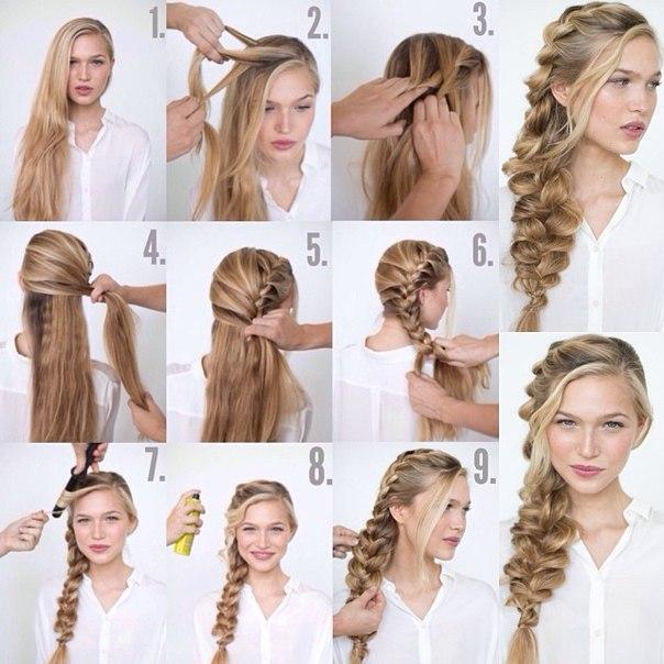 Лёгкие причёски на длинные волосы своими руками фото