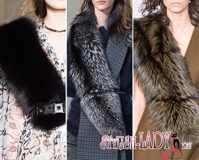 модные меховые палантины осень - зима 2015 - 2016, фото
