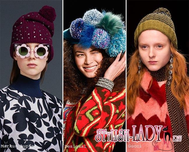 модные шапки с помпонами осень - зима 2015 - 2016, фото
