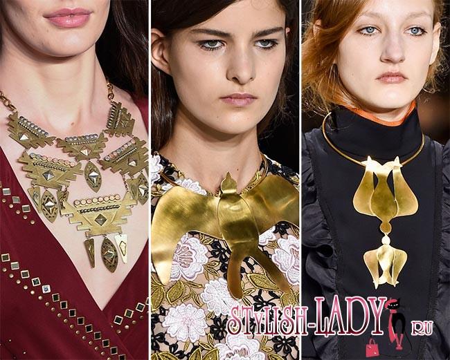 модные украшения ожерелья и колье осень - зима 2015 - 2016, фото
