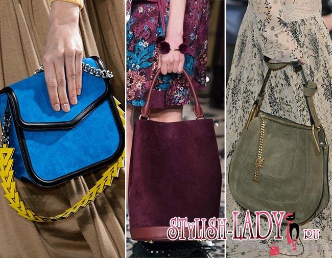Модные замшевые сумки осень - зима 2015 - 2016, фото