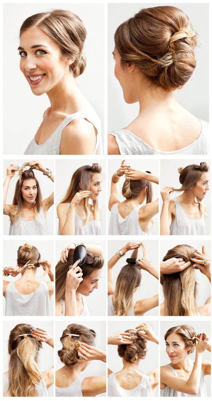 Прически на средние волосы в домашних условиях вечерние