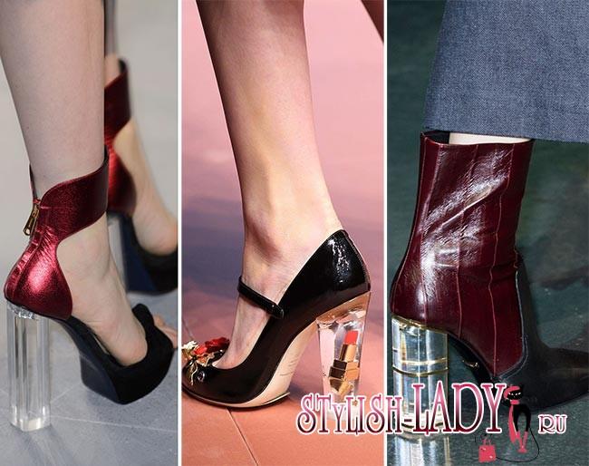 Фото модной обуви с прозрачным каблуком осень - зима 2015 - 2016