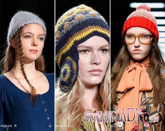 модные вязаные шапки осень - зима 2015 - 2016, фото