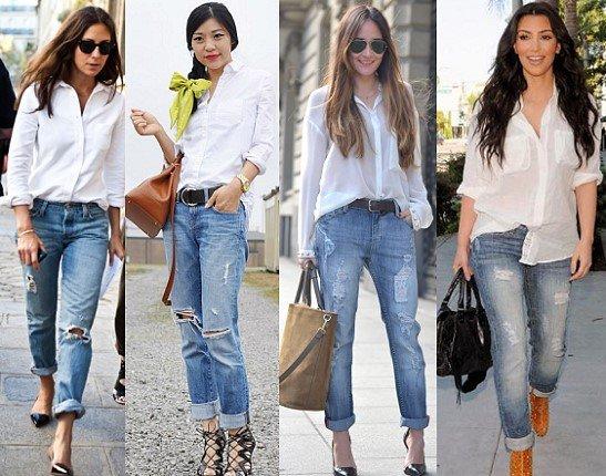 фото белая рубашка женская с чем носить