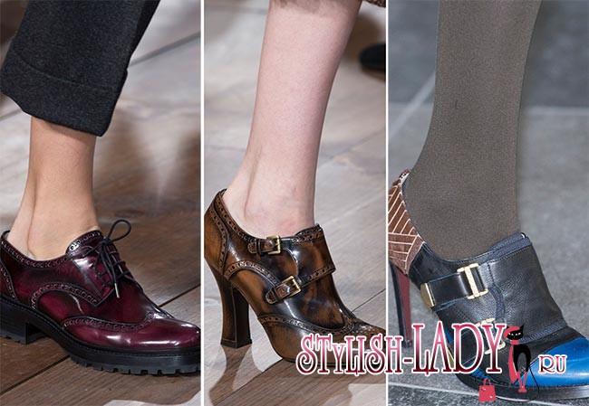 Фото модной обуви осень - зима 2015 - 2016 - оксфорды
