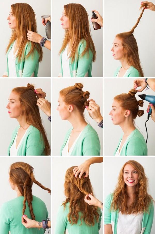 Как сделать кудри на средние волосы без плойки и бигуди