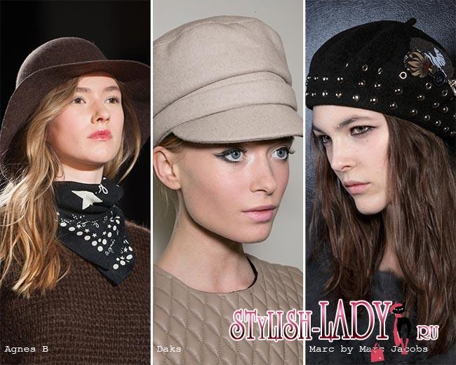 модные фетровые шапки и кепки осень - зима 2015 - 2016, фото