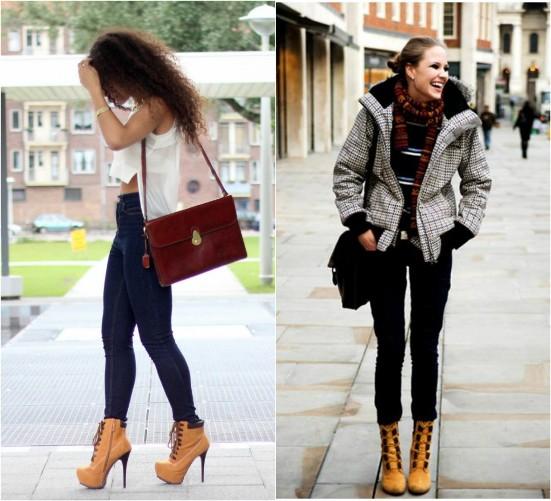 с чем носить тимберленды на каблуке девушкам