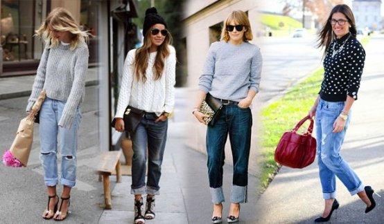 джинсы бойфренды с обувью на каблуке