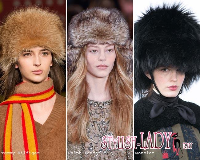 модные меховые шапки осень - зима 2015 - 2016, фото