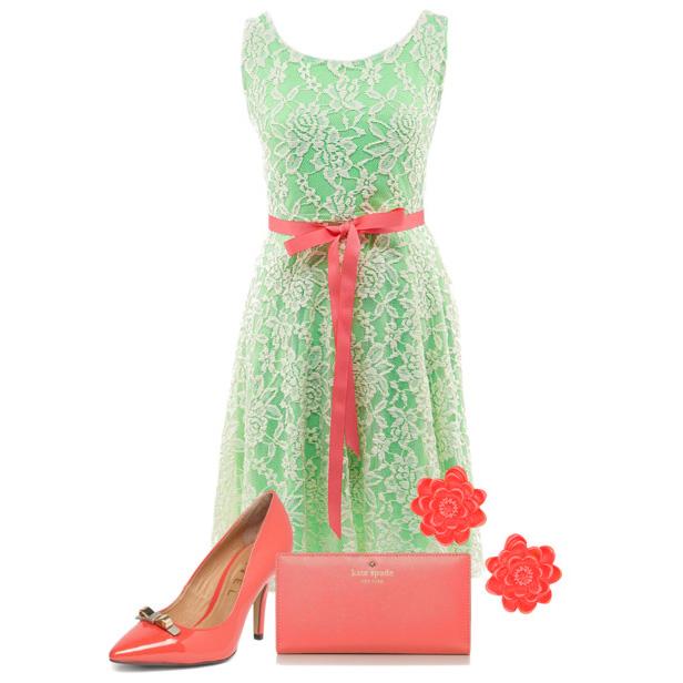 Платье салатовое с розовым
