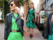 Зеленое платье или зеленая юбка. Что носить в паре
