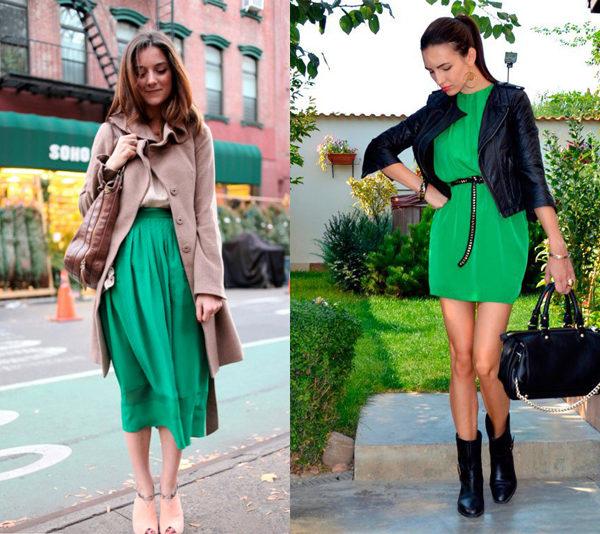 Красные туфли зеленая юбка