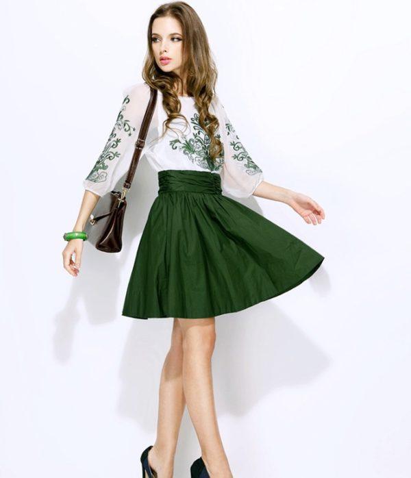 Зеленые колготки+зеленая юбка