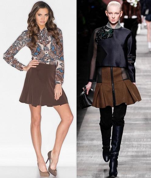 коричневая юбка с чем носить фото