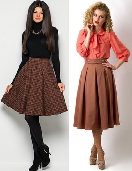 Черная юбка и коричневая блузка