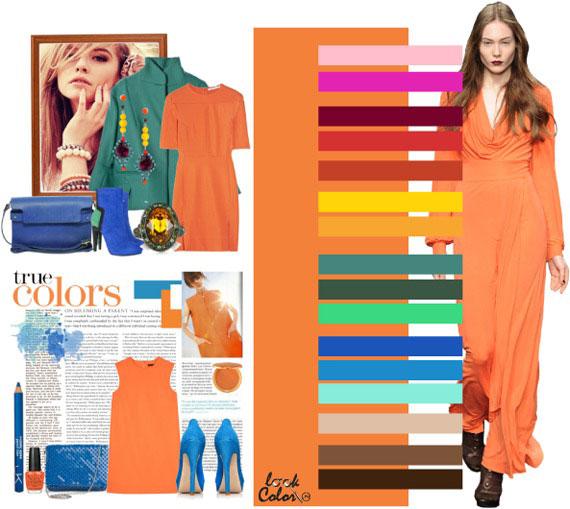 Каким цветом туфли подойдут к оранжевому платью