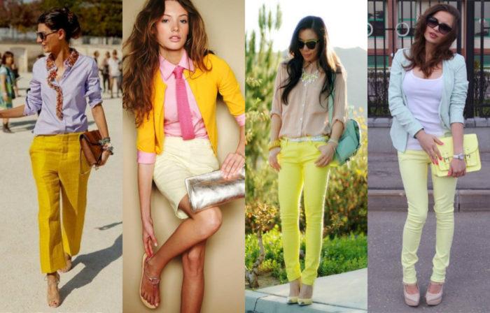 сочетание цветов в одежде - желтый, фото