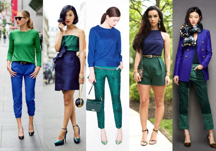 сочетание цветов в одежде - зеленый фото