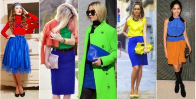 Сочетание цветов в одежде: зеленый, желтый и синий