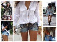 C чем носить модные джинсовые шорты разных расцветок?