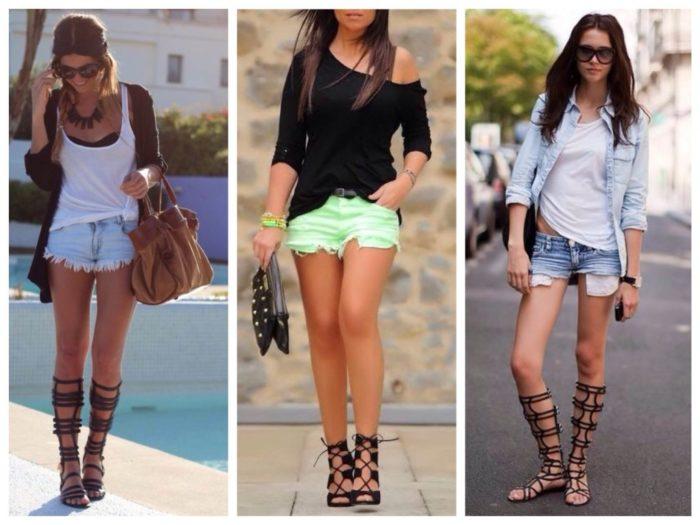 джинсовые шорты с сандалиями, фото