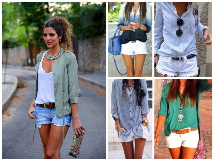 джинсовые шорты + рубашка, фото