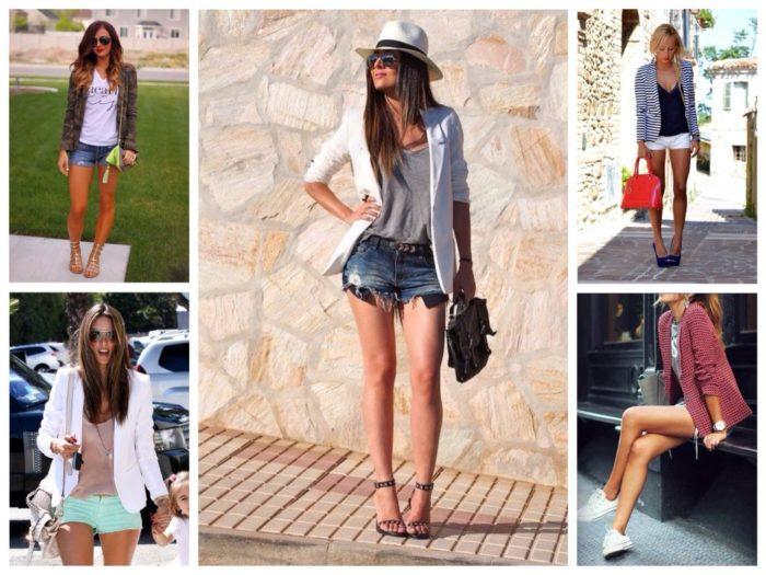 джинсовые шорты с пиджаком, фото