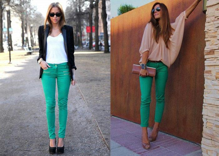 модные джинсы зеленого цвета, фото