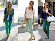 Необычные цвета… С чем носить зеленые джинсы?