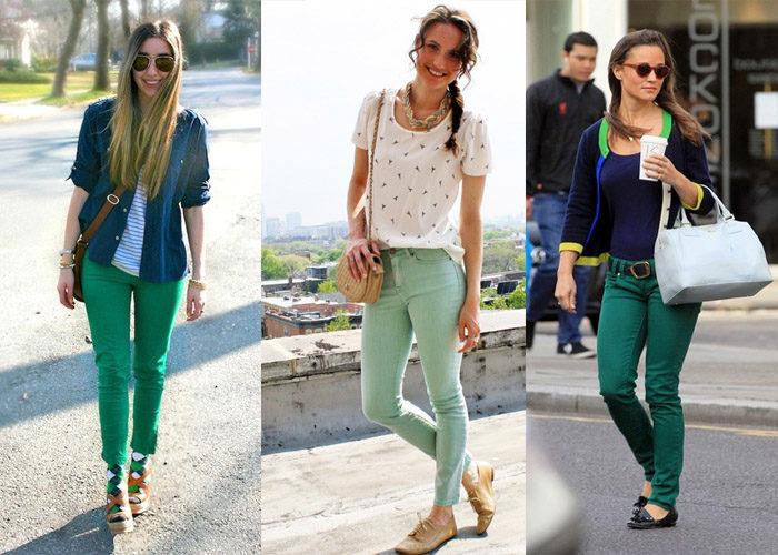 зеленые джинсы, фото