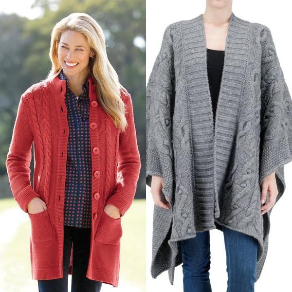 вязаное пальто кардиган и пончо, фото