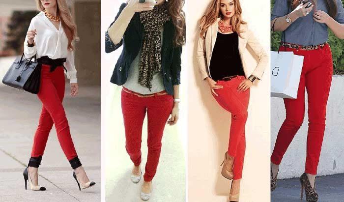 9fc29faef35 С чем носить красные джинсы  фото модных образов