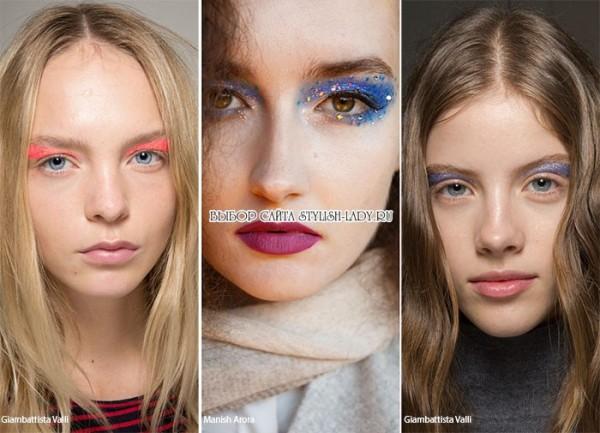 модный макияж с блестками 2016, фото