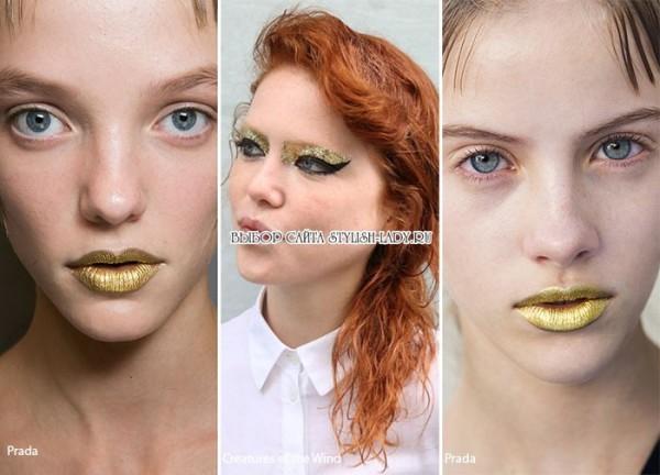модный золотой макияж 2016, фото