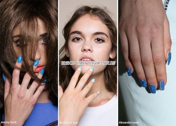 модный синий маникюр 2016, фото