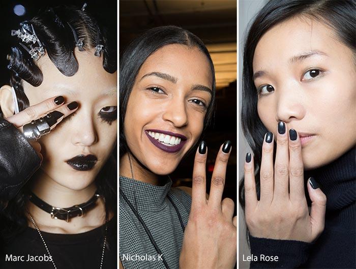 модный черный маникюр осень - зима 2016 - 2017, фото
