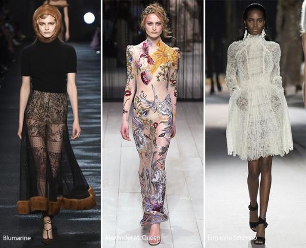 модные тенденции осень - зима 2016 - 2017, платья с вышивкой,, фото