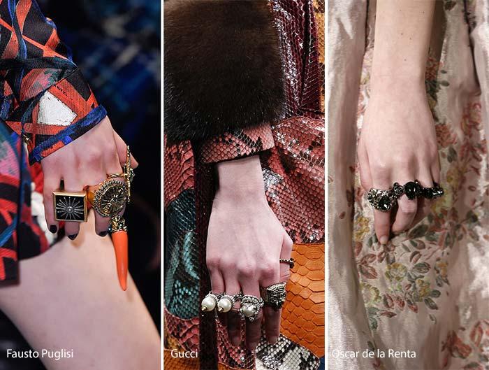 модные кольца осень - зима 2016 - 2017, фото