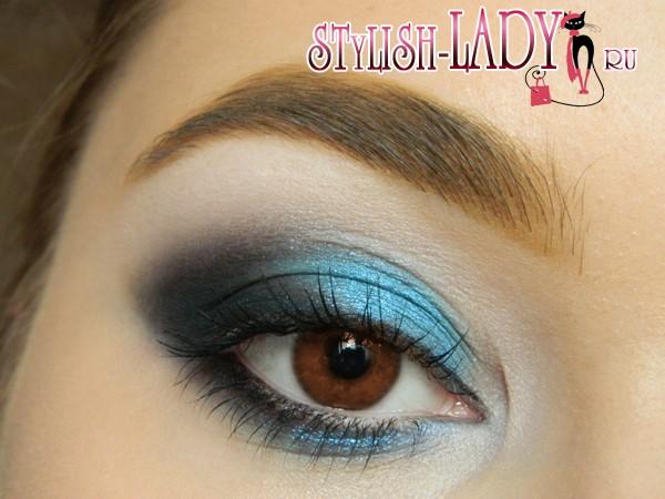 синий макияж для карих глаз, фото