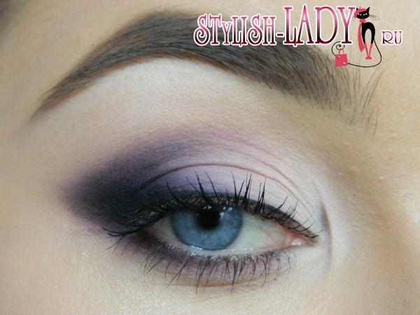 фиолетовый макияж глаз, фото