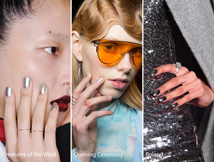 модный серебрянный маникюр осень - зима 2016 - 2017, фото