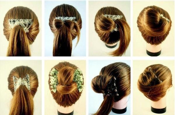 как заколоть волосы заколкой, фото